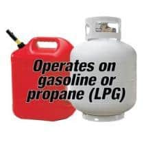 Operates on gasoline or propane(LPG)